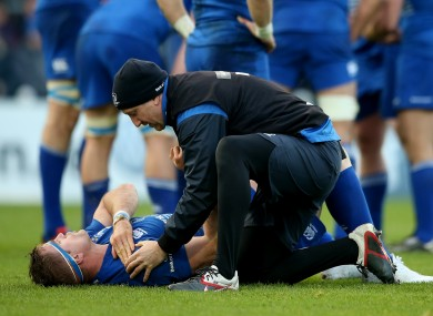 Heaslip receives attention to his right shoulder on Saturday.