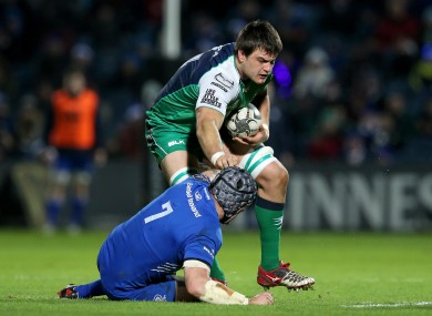 Roux runs through Shane Jennings in Connacht's clash with Leinster on 19 December.