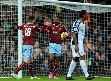 West Ham United's Diafra Sakho (right) celebrates scoring with teammate Carl Jenkinson.