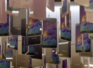 Models of Samsung's smartphones are displayed at a showroom in Seoul in South Korea.