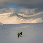 Climbers make their way through deep snow near Rannoch Moor in Glencoe, Scotland as forecasters are predicting the coldest night in Britain so far this winter.<span class=