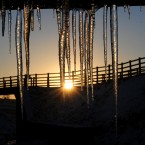 Sunlight is caught on icicles in Kilhope, County Durham, as more winter weather swept across the UK bringing disruption to rush-hour traffic.