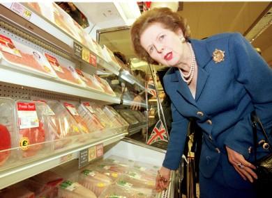 Former British Prime Minister Margaret Thatcher in a Tesco supermarket in 1997