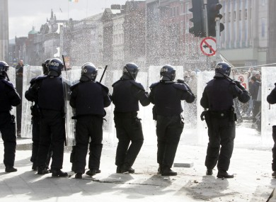 Members of the gardai in action on O'Connell Street at the 2006 march.