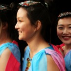 Performers from the Chinese Irish Culture Academy (left to right) Ciara Liu, Christina Chan and Catherine Mao wait to take to the stage during the Chinese New Year Carnival Experience in Dublin's City centre.<span class=
