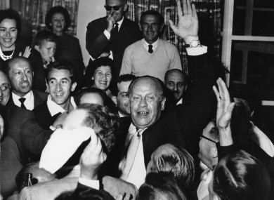 Oskar Schindler, centre, with Holocaust survivors in 1962.
