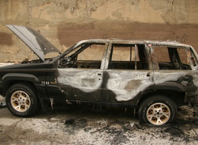 A burned-out Jeep in Chicago
