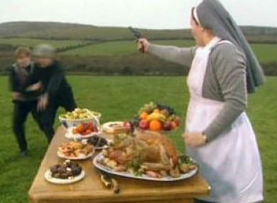 Sister Assumpta keeps Ted and Dougal away from the goodies.