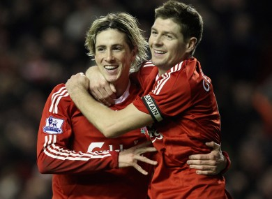 Torres and Gerrard during their time as Liverpool team-mates.