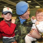 Commandant David Slattery from Limerick and his Zoey (1) and son Zayne (3).<span class=