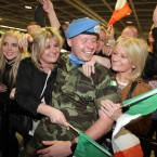 Glenn Ahearne from Finglas is welcomed home by his family<span class=