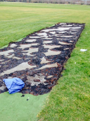 The whole playing surface is now completely beyond repair