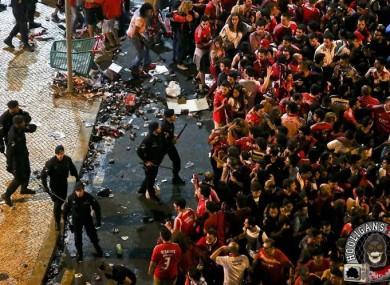 Riots taking place in Lisbon last night.