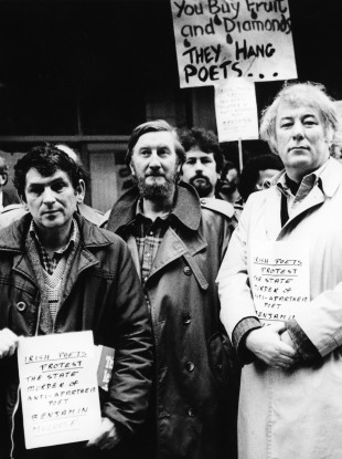 Poet Seamus Heaney (right) joins the strikers.