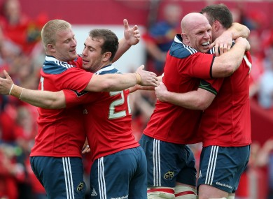 John Ryan, JJ Hanrahan, Paul O'Connell and Donnacha Ryan celebrate after Munster's semi-final win.