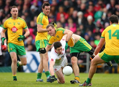 Sean Cavanagh in action for Tyrone against Donegal on Sunday.