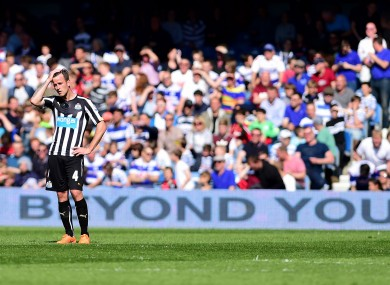 Newcastle United's Ryan Taylor appears dejected after Queens Park Rangers' score their second goal.
