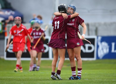 Niamh McGrath and Shauna Healy celebrate after the game.