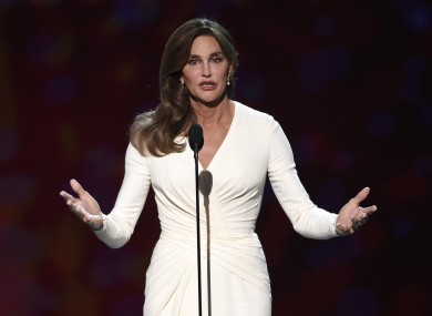 Caitlyn Jenner accepts the Arthur Ashe award for courage at the ESPY Awards.