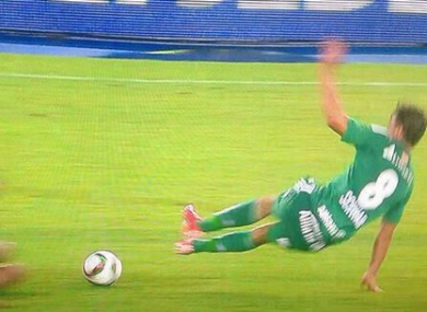 Stefan Schwab deservedly saw a red card for this.