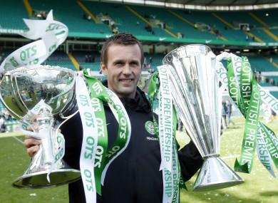 Manager Ronny Deila celebrates winning the SPL at Celtic Park last season.