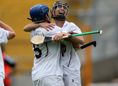 Angela Lyons and Hannah McDonnell of Kildare at the end of the game.