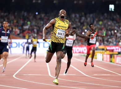 Jamaica win the Men's 4x100m relay as Usain Bolt leads them home.