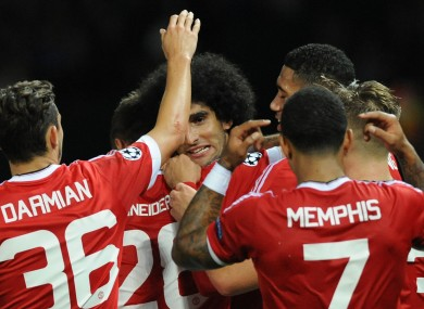 Fellaini came off the bench to score in the first leg against Brugge.