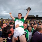 Limerick goalkeeper David McCarthy celebrates their Bord Gais Energy Munster Under 21 Hurling final win against Clare on Thursday.