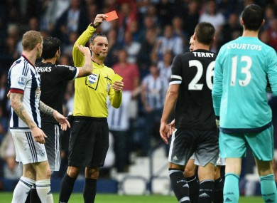 Chelsea captain John Terry is sent off at West Brom
