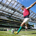 Johnny Sexton takes kicking practice during Ireland's captain's run on Friday.