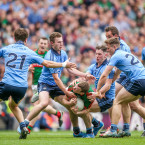 Five Dublin defenders surround Mayo's Co Boyle resulting in their late penalty.