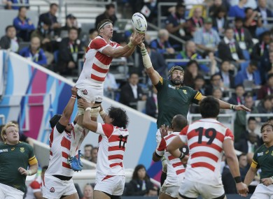 Japan's Luke Thompson, top left, and South Africa's Victor Matfield compete for the ball in a line out during the Rugby World Cup Pool B match.