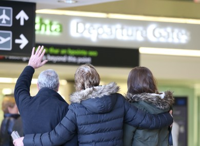 People departing Ireland at Dublin Airport following the Christmas holidays in January 2014