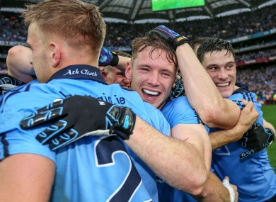 Dublin's Jonny Cooper, Paul Flynn and Diarmuid Connolly celebrate.