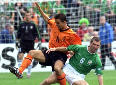 Roy Keane tackles Marc Overmars during the famous 2001 encounter between Ireland and Holland.