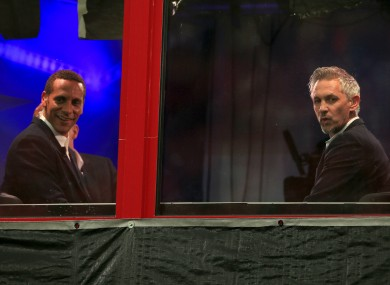 Gary Lineker (right) and Rio Ferdinand in the sky box prior to kick-off.