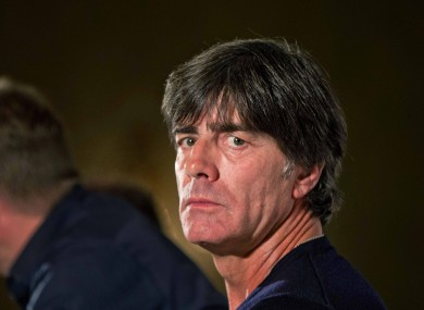 Germany Manager Joachim Löw at today's press conference in Dublin.