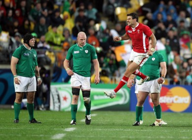 Mike Phillips celebrates Wales' win over Ireland in 2011.