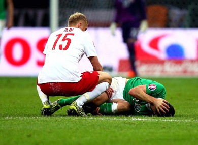 Long damaged ankle ligaments during the defeat in Poland.