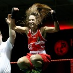 Dervla Duffy jumps for joy after winning the 54kg title at the National Elite Female Finals.<span class=