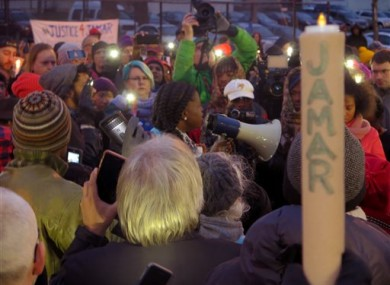 File photo shows Minneapolis NAACP leader Nekima Levy-Pounds speaking at a prayer vigil n Minneapolis.