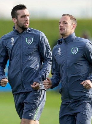 Meyler, right, came out of this morning's training session.