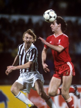 Jim Beglin in action for Liverpool in the European Cup.