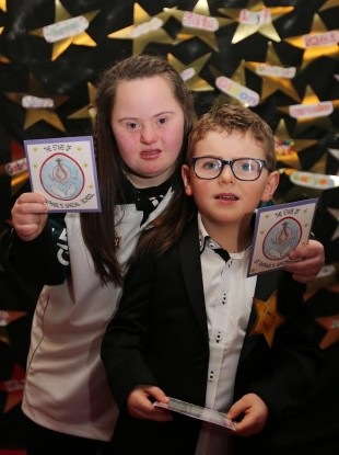 Matthew Gordon from Kilcock and Jennifer Malone from Clane at the launch of the St Raphael's Special Needs School CD.