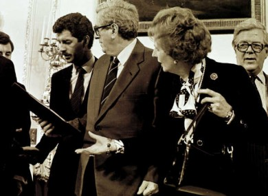 From left to right: Dick Spring, Garret Fitzgerald and Margaret Thatcher at the signing of the Anglo-Irish Agreement