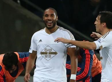 Ashey Williams celebrates his goal for Swansea.