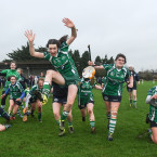 Eileen Flannery and her team mates celebrate All-Ireland camogie semi-final success over Tullaroan.<span class=