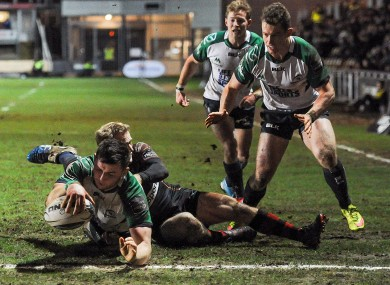 Eoghan Masterson goes over for Connacht's third try.