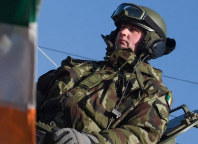 File photo of an Irish soldier serving in the NATO-led peacekeeping mission.